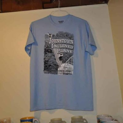 Johnstown Inclined Plane Adult T shirt, Sky Blue